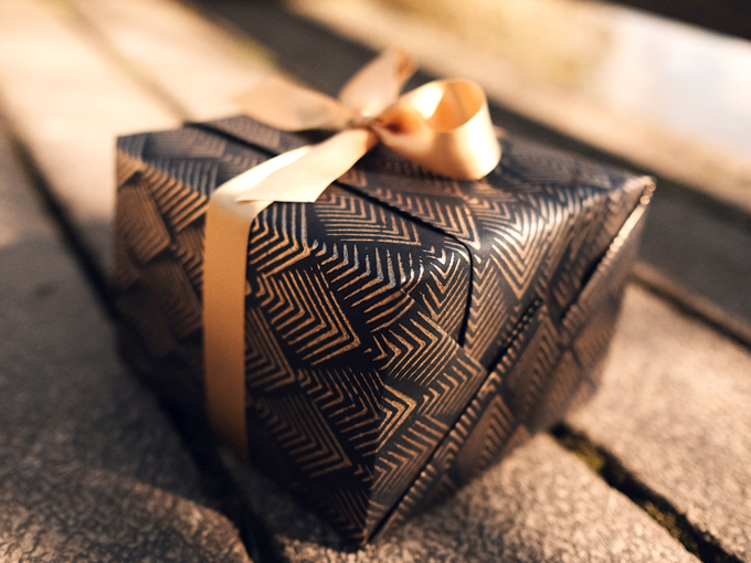 Present wrapped in sustainable, environmentally friendly wrapping paper